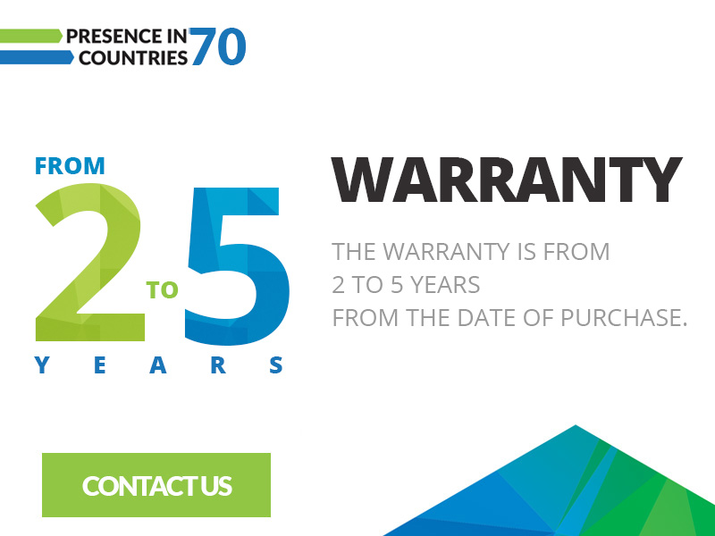 High quality - warranty from 2 to 5 years from the date of purchase